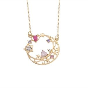 Sailor Moon Gold Round Pendant Rhinestone Necklace